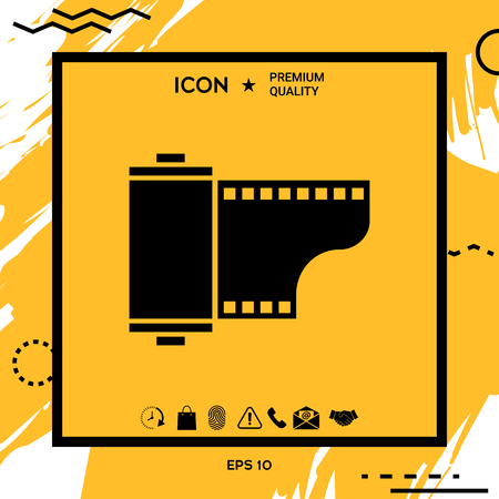 Photographic film cassette icon. Element for your design
