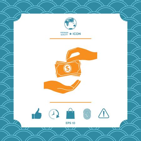Receiving money banknotes stack icon. Cash stacks money banknotes Stock Illustratie