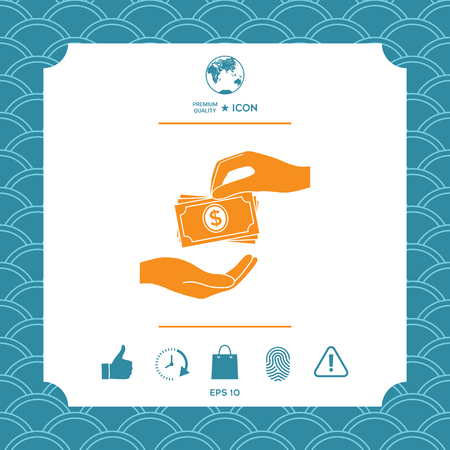 Receiving money banknotes stack icon. Cash stacks money banknotes Vettoriali