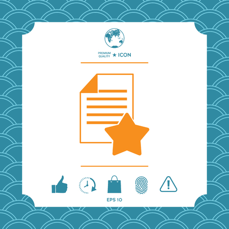 Warranty sheet of paper with a star. Icon vector illustration. Çizim