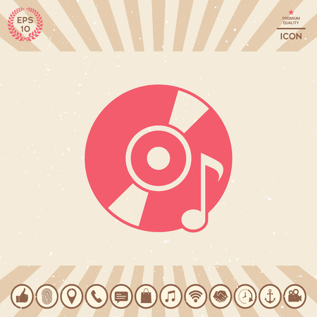 CD, DVD with music symbol. Element for your design