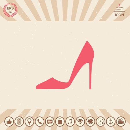 Elegant woman shoe, menu item web design illustration.
