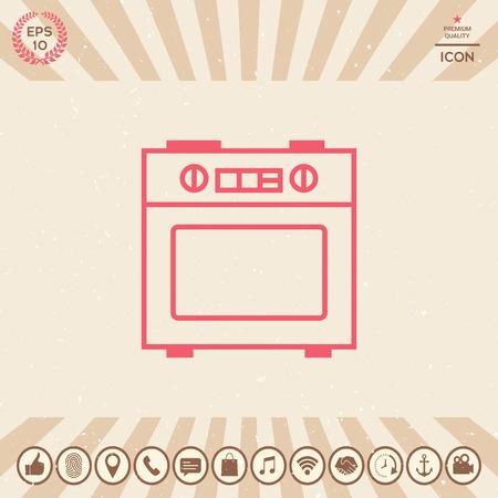 Kitchen stove linear icon Çizim