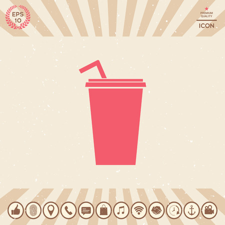 Paper cup with drinking straw icon