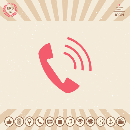 Telephone handset, telephone receiver icon