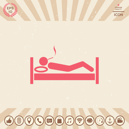 Smoking in bed icon Vector illustration.