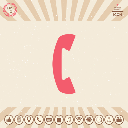Telephone handset, telephone receiver symbol Vectores