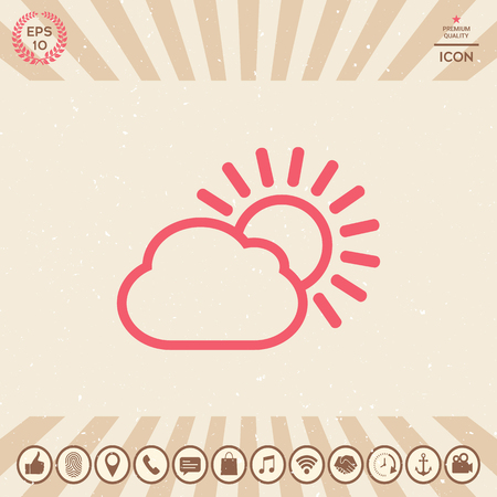 Sun cloud line icon Vector illustration.