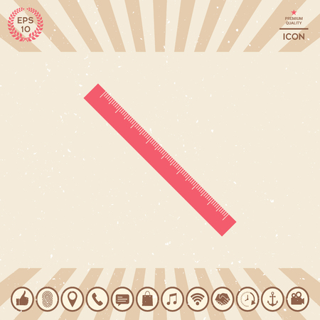 The long ruler icon Vector illustration.