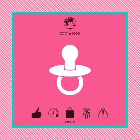 Graphic element of a white silhouette baby pacifier for your design.