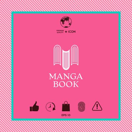 Manga book graphic element design on pink background.