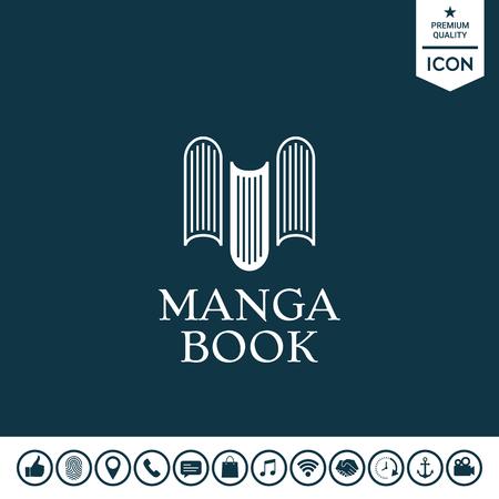 Elegant logo with book symbol - like the letter M. Element for your design Illustration