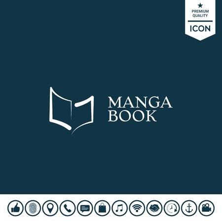 Elegant logo with book symbol like brush stroke. Element for your design Illustration