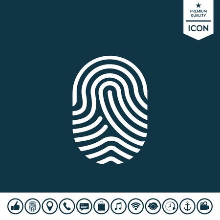 Fingerprint, Scanned finger icon in white silhouette illustration. Illustration