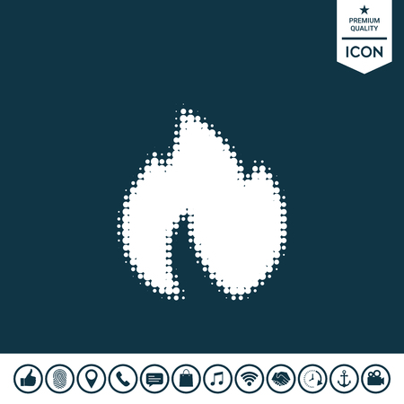 Fire symbol in white silhouette illustration, Element for your design.