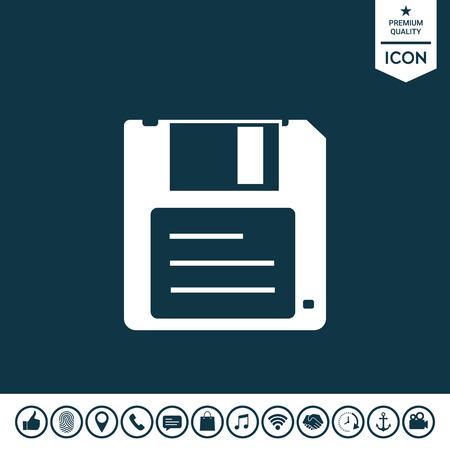 Floppy disk icon on a plain background. Illustration
