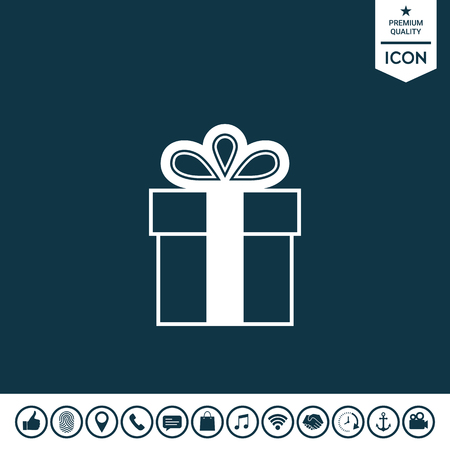 Gift box symbol icon. Vector illustration. Ilustrace