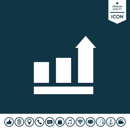 Growing bars graphic with rising arrow. Icon Vector illustration.