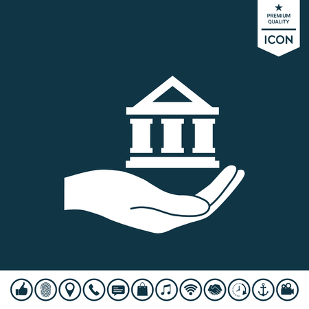 Hand holding bank Vector illustration.