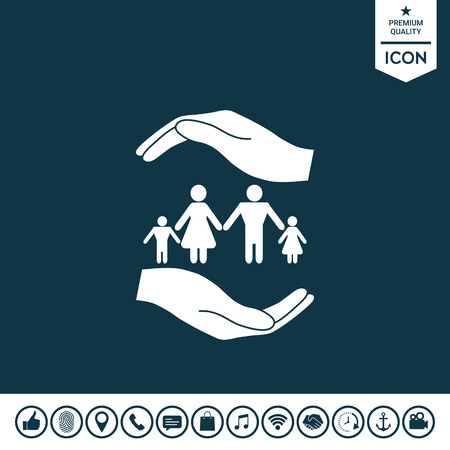 Hands holding a symbol of family, Family protect icon.
