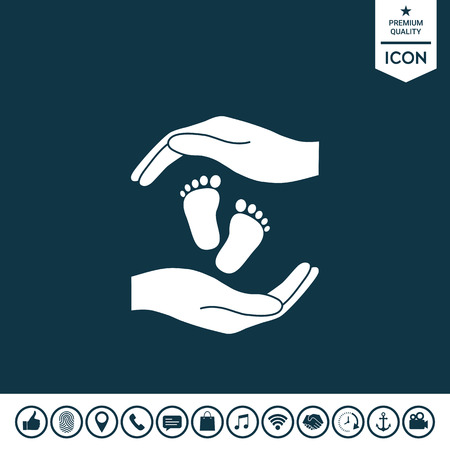 Hands holding baby foot, protection symbol Vector illustration.