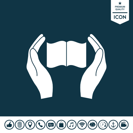 Hands holding book- protection icon