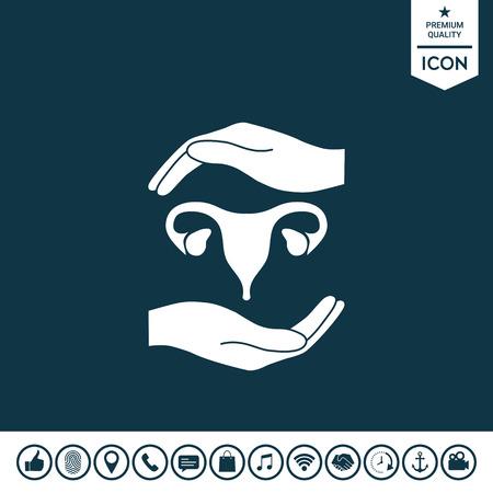 Hands holding Female uterus - protection symbol Vector illustration. Illustration