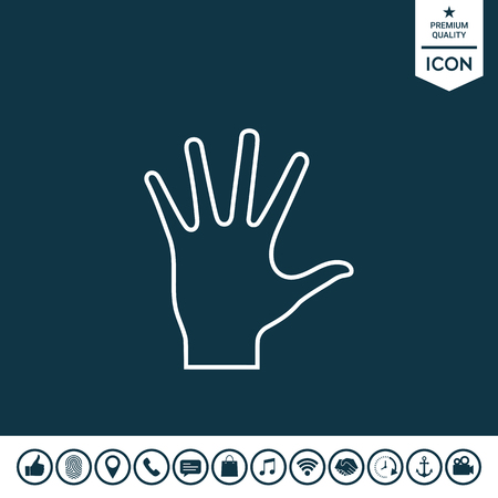 Helping hand line icon.