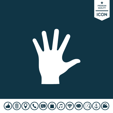 Helping hand silhouette icon.