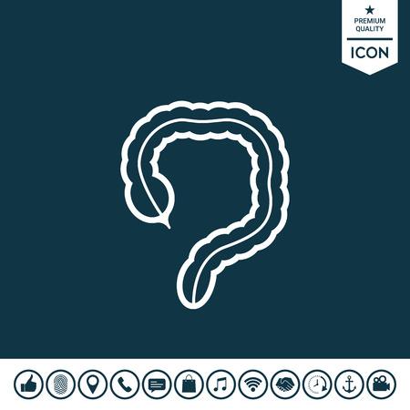 Organe humain - l'icône du gros intestin Illustration vectorielle. Vecteurs
