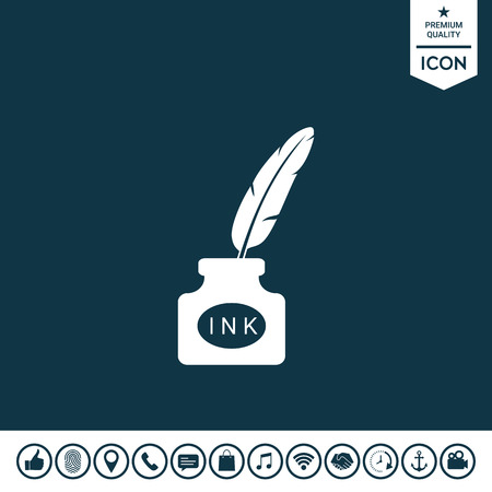 Bouteille d'encre avec plume - icône Banque d'images - 92603041