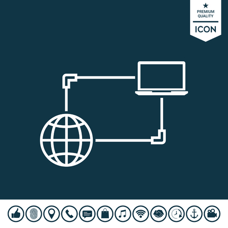 Internet connection, data exchange, transfer concept icon.