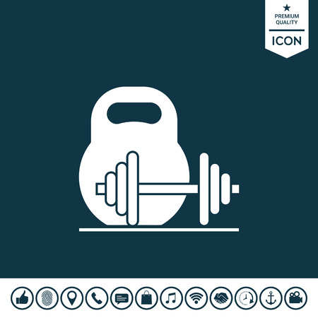 Kettle bell and barbell icon.
