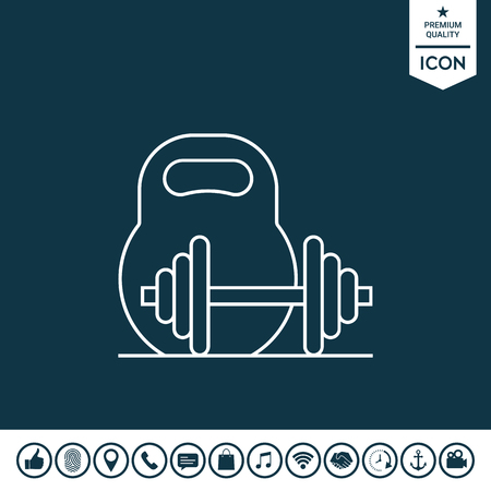 Kettle bell and barbell line icon illustration. Illustration