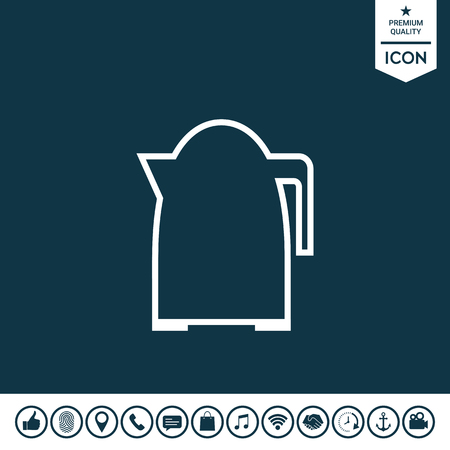 Kitchen kettle linear icon illustration.