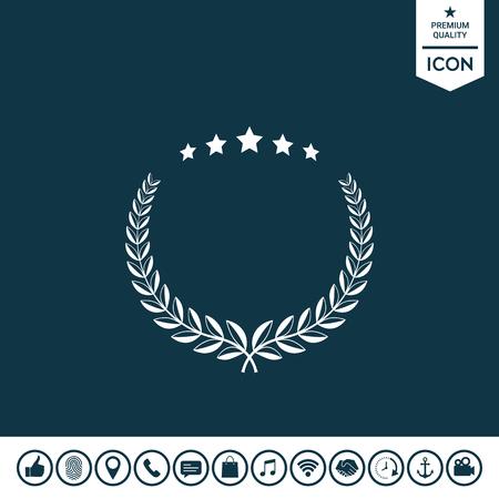 Laurel wreath with five stars design symbol. Illustration