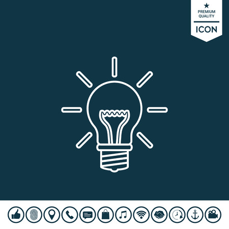 Light bulb new ideas line icon.