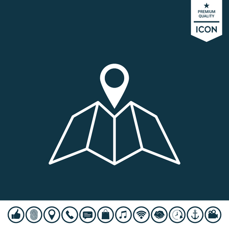 Map icon with Pin Pointer Illustration