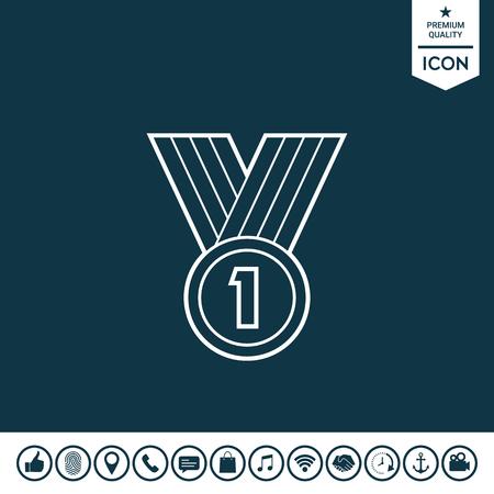 Medal line Icon on plain background. Illustration