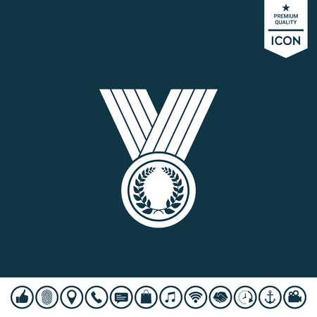 Medal with Laurel wreath, icon on plain background.