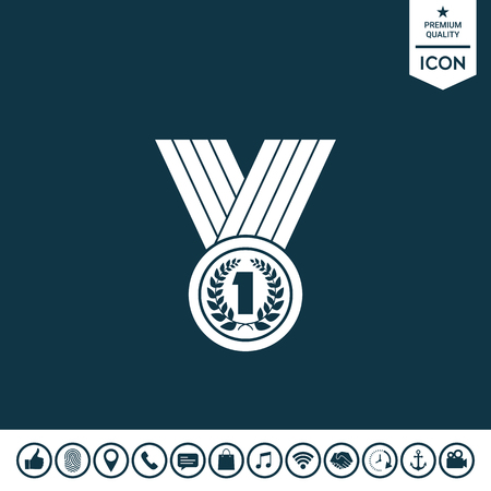 Medal with Laurel wreath icon on plain background. Illustration