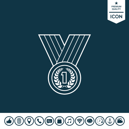 Medal with laurel wreath line icon illustration.