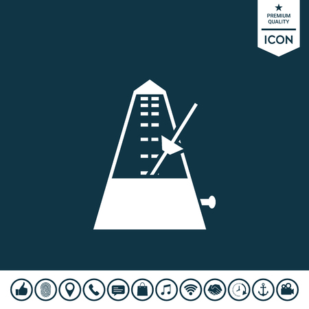 Metronome icon on plain background. Illustration
