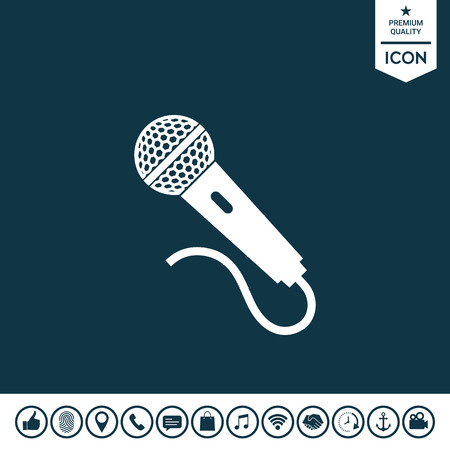 Microphone icon on plain background. Illustration