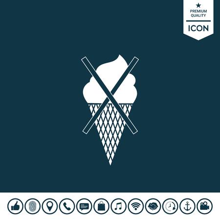 No ice cream symbol icon on plain background.