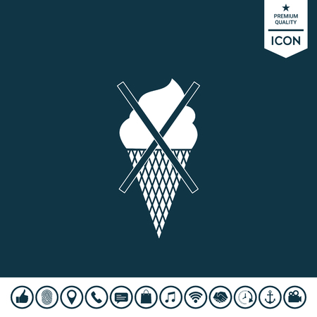 No ice cream symbol icon on plain background.