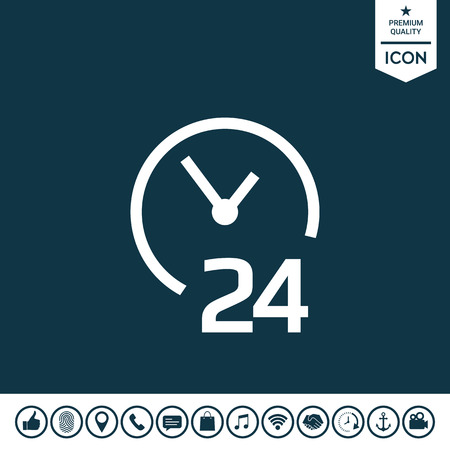 Open around the clock icon. Opening hours symbol icon Illustration