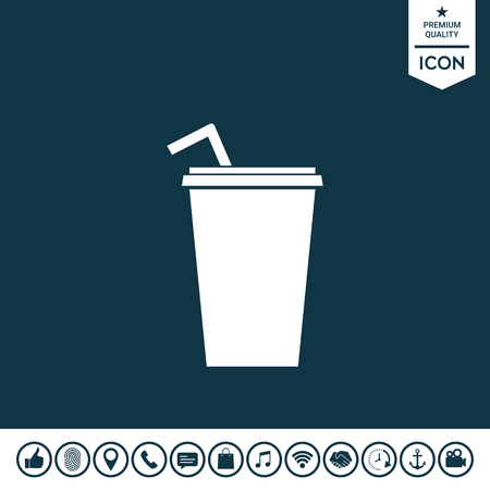 Paper cup with drinking straw icon vector illustration.