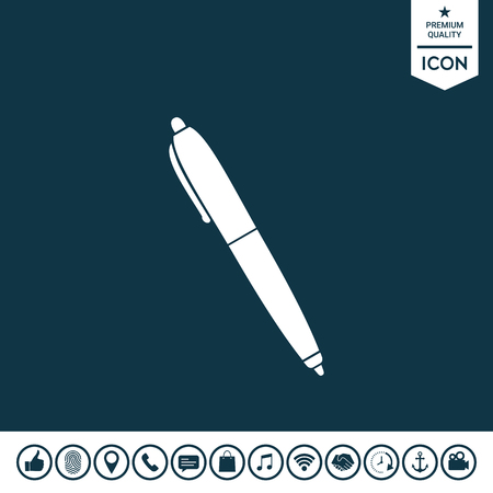 Pen icon on plain background. Illustration