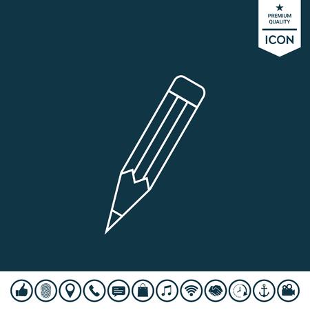 Pencil - linear icon on plain background. Illustration
